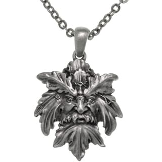 CGC Pewter Mystical Green Man Leaf Face Pendant on Chain Necklace