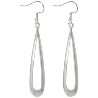 CGC Silver Plated Brass Bright Finish Long Open Teardrop Dangle Earrings