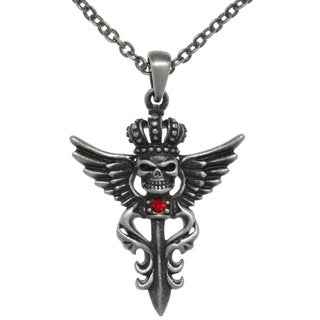 CGC Pewter Winged Skull with Crown Pendant Chain Necklace