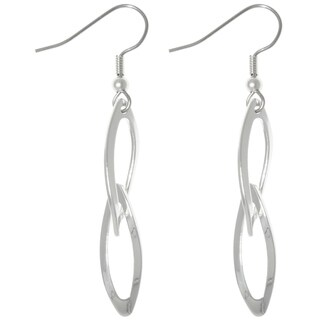 CGC Silver Plated Steel Bright Finish Double Oval Dangle Earrings