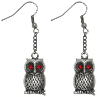 CGC Pewter Barn Owl with Red crystal Eyes Chain Dangle Earrings