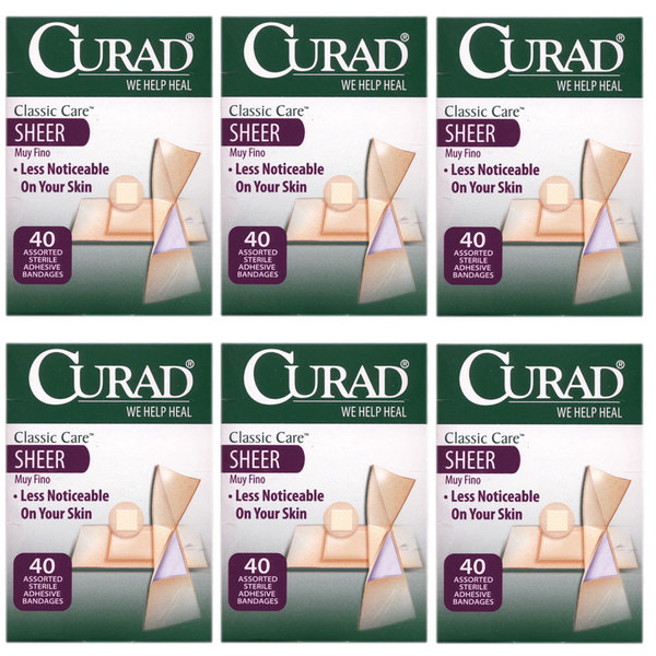 Curad Classic Care Sheer 40 Assorted Bandages (Pack of 6)