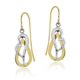 Mondevio 14k Two-tone Gold Heart Dangle Earrings