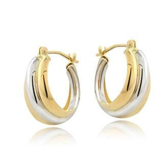 Mondevio 14k Two-tone Gold Small Double Hoop Earrings