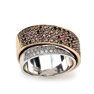 Diamonds for a Cure 18k Two-tone Gold 2 1/5ct TDW Red and White Diamond Cross Over Ring (H-I, SI1-SI2)