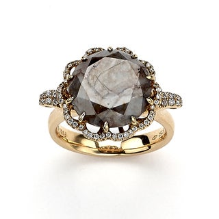 Diamonds For A Cure 18k Rose Gold 9 1/2ct TDW Grey and White Rough Diamond Ring (H-I, SI1-SI2)