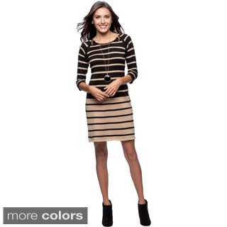 Lennie For Nina Leonard Women's Double Zipper Stripe Dress