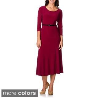 Lennie For Nina Leonard Women's Waist Belt A-line Dress