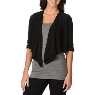 Lennie for Nina Leonard Women's Black Elbow Sleeve Shrug