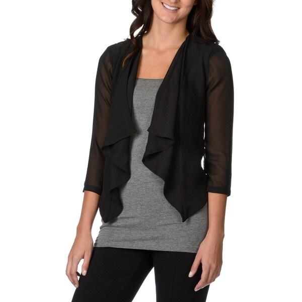 Lennie for nina leonard women s black 3 4 sleeve sheer shrug