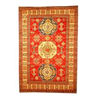 Herat Oriental Afghan Hand-knotted Tribal Kazak Red/ Tan Wool Rug (6'6 x 9'6)