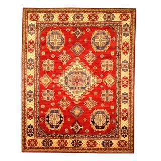 Herat Oriental Afghan Hand-knotted Tribal Kazak Maroon/ Tan Wool Rug (6'5 x 8'4)