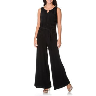 Lennie for Nina Leonard Women's Black Self Belted Jumpsuit