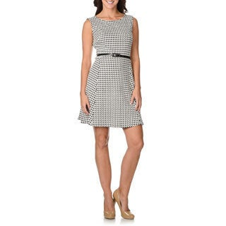 Lennie For Nina Leonard Women's Black/ White Belted Dress