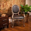 Jacob Espresso Bonded Leather Weathered Oak Arm Chair