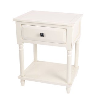 White Single Drawer Accent Stand