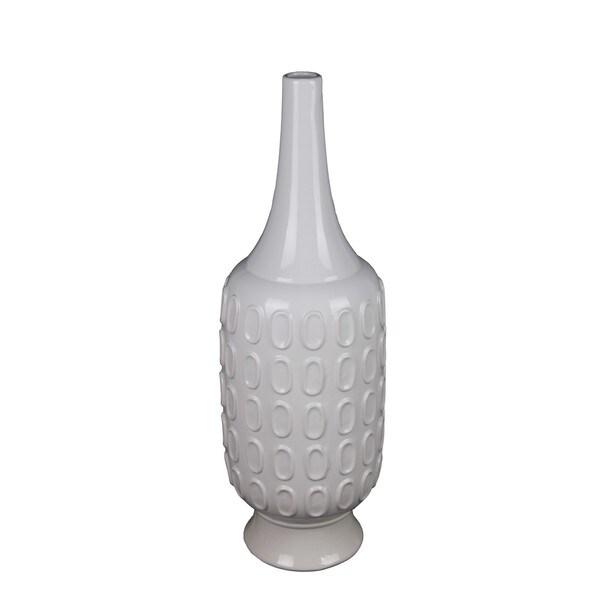 Large White Circle Ceramic Vase