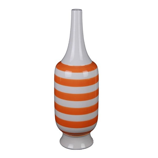 Large Tall Orange Stripe Ceramic Vase