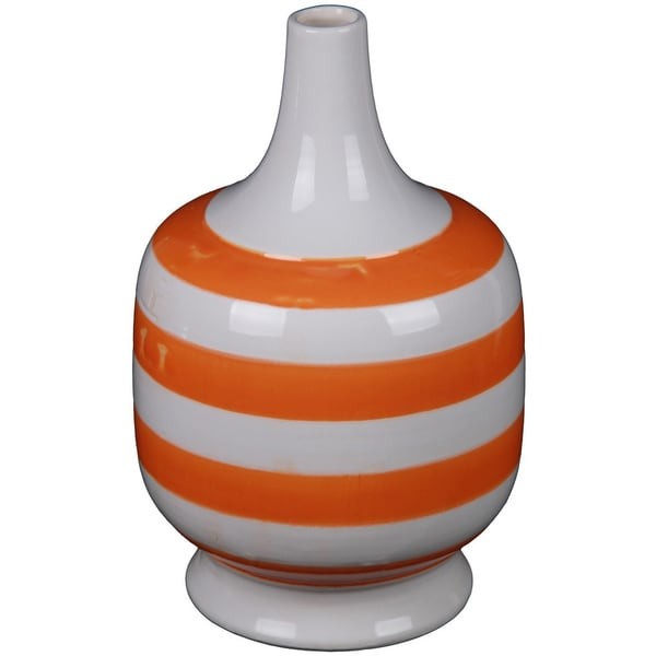Small Short Orange Stripe Ceramic Vase