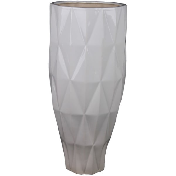Large White Geo Ceramic Vase