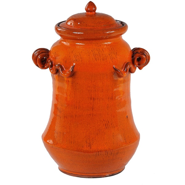 Large Orange Lidded Vase