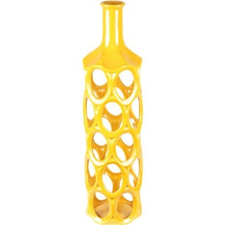 Large Yellow Geo Ceramic Vase
