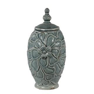 Vintage Crackle Large Lidded Vase