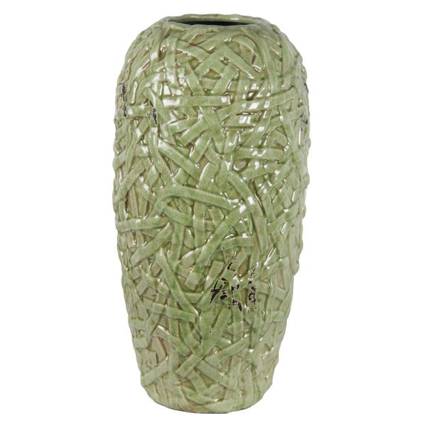 Large Woven Green Ceramic Vase
