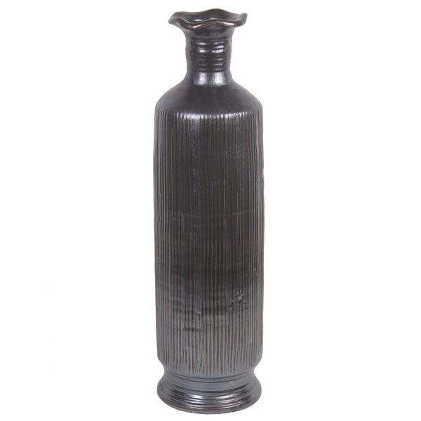 Dark Grey Ribbed Ceramic Vase