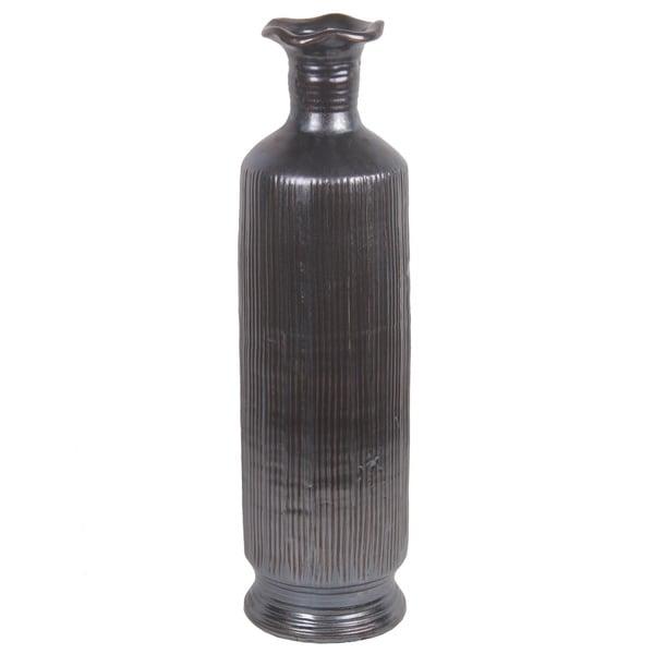 Dark Grey Ribbed Ceramic Vase