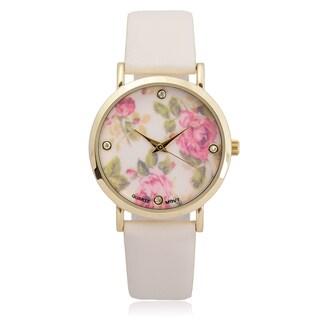 Geneva Platinum Women's Faux Leather Floral Print Quartz Watch