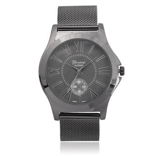 Geneva Platinum Stainless Steel Chronograph Mesh Band Watch