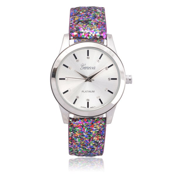 Geneva Platinum Faux Leather Rhinestone Glitter Watch