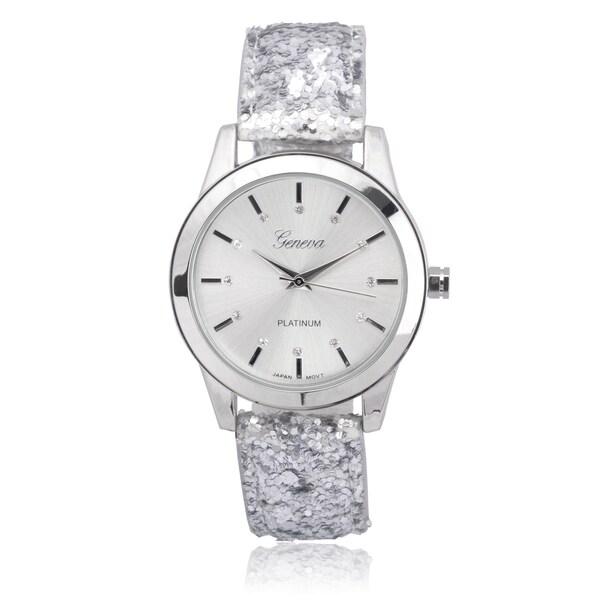 Geneva Platinum Faux Leather Rhinestone Glitter Watch