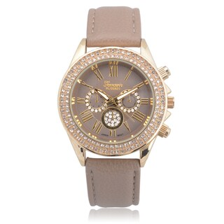 Geneva Platinum Faux Leather Rhinestone Chronograph Watch