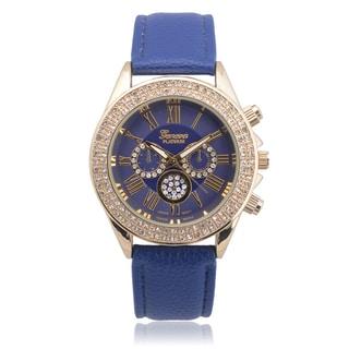 Geneva Platinum Women's Faux Leather Rhinestone Chronograph Watch