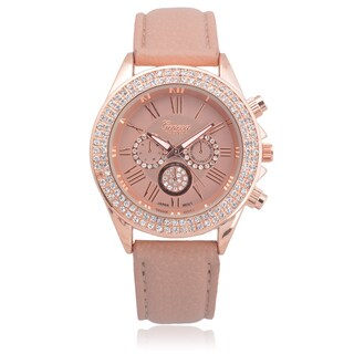 Geneva Platinum Faux Leather Rhinestone Chronograph Watch