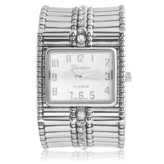 Geneva Platinum Rhinestone Cuff Watch