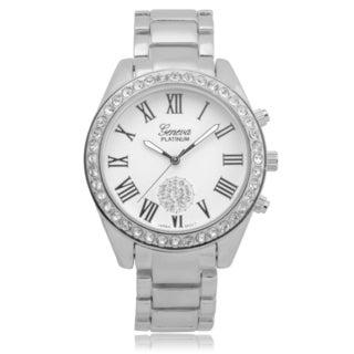 Geneva Platinum Rhinestone Link Watch