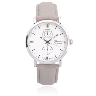 Geneva Platinum Faux Leather Chronograph Watch