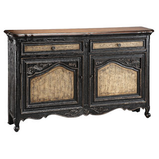 Avalon Distressed Wood and Textured Black Antiqued Sideboard Cabinet