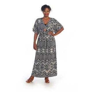 Hadari Women's Plus Size Diamond Print Dolman-sleeve Maxi Dress