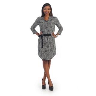 Hadari Womens Black Paisley Long Sleeve Dress