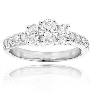 Luxurman 14k White Gold 1 1/5ct TDW 3-stone Diamond Engagement Ring (H-I, SI1-SI2)