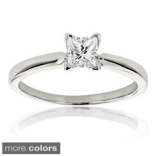 14k White Gold 2/5ct TDW Solitaire Diamond Ring (H-I, SI1-SI2)