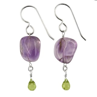 Ashanti Sterling Silver Amethyst and Peridot Gemstone Handmade Earrings (Sri Lanka)