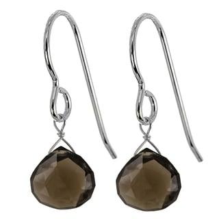 Ashanti Sterling Silver Smokey Quartz Briolette Gemstone Handmade Earrings (Sri Lanka)
