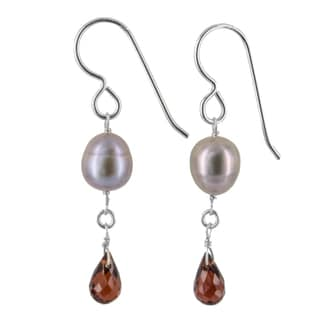 Ashanti Sterling Silver Platinum Pearl and Garnet Gemstone Handmade Earrings (Sri Lanka)