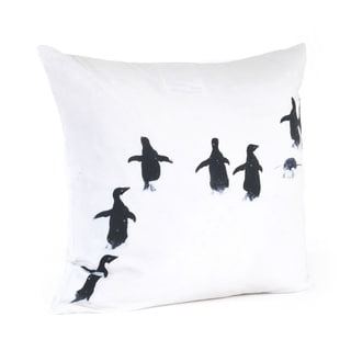 Penguin Design 20-inch Feather Filled Throw Pillow