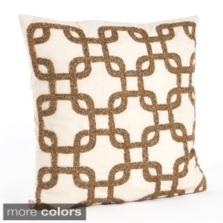 Beaded Design Down Filled 18-inch Throw Pillow